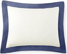 "1PC-21"" x 36"" Tencel Cotton Ivory w/Navy Hemstitch Design Barolo Pillow Shams"