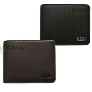 HUGO BOSS MEN SOFT LEATHER BILLFOLD 5 CARDS/COIN WALLET 'ALLON' WITH GIFT BOX