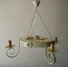 Lampadario a ruota di carro in legno ferro battuto cucina taverna 4 luci shabby