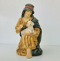 Shepherd Kneeling Sheep Lamb Figurine Grandeur Noel Christmas Nativity Set N0073
