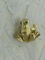 Vintage Avon Frog Toad Pin Brooch Gold Tone Metal Rhinestones Figural Tie Tac