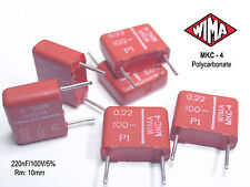 WIMA 0.22uF -100V (220nF) MKC-4  Polycarbonate Capacitors  x 50 PIECES