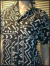 """BONKERS of London Black & White Abstract Tribal Short Sleeve Shirt (S) 40"""" chest"""