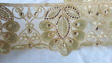 10cm- 1 meter Gorgeous gold floral embroidered and beaded lace trimming DIY