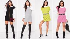 Fashion Womens Knitted Sweater Long Sleeve Colour Block Polo Neck Jumper Dress