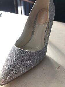 Silver stiletto Glitter Size 3 Kitten Heel pointy toe new
