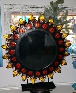 Sunburst Mirror, Metal, Round, Black, Red, Gold