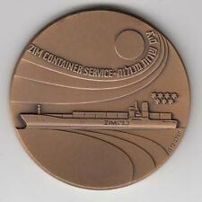 ISRAEL 1972 ZIM HAIFA - CONTAINER SERVICE, SHIP,  AWARD MEDAL 59mm BRONZE #4