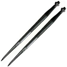 """2 of 31.5"""" Black Ribbed Bale Spears w/ Nut 1,800 Lb Capacity 38 Mm Dia 51444"""