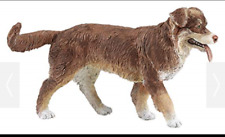Australian Shepherd Dog Figurine Brown And White Pet Papo Toy Animal Adult New