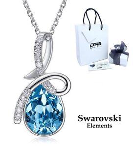 Collana Cristallo Swarovski Elements Originale Donna Argento 925 Goccia Blu Moda
