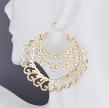 "Gold earrings hoops filigree medallion swirl earrings door knocker hoop 2"""