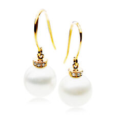 New 11mm White Freshwater Pearl Diamond Earrings Pacific Pearls® Thank You Gifts