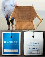 VINTAGE 1977 BRAND NEW w/TAG CALIF-ASIA RATTAN WICKER OVER WROUGHT IRON CHAIR