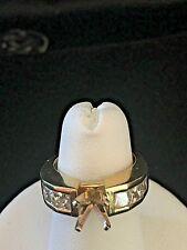 14k Yellow Gold  Princess Cut 1.37ct VS1 G Diamonds Semi Mount Ring