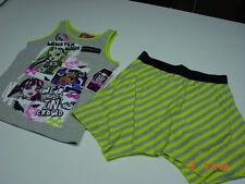 NWT Girls Monster High 2 piece set Tank Skort Green Gray Striped Summer Cute