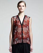 HELMUT LANG Red Multi 'Mandala Viscose Print' Sleeveless  Sheer Top. Size M