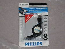 Philips Retractable USB Cable Portable Lightweight Travel PC Notebook NEW!