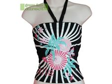 Elle Womens Black White Pink Blue Oriental Bandeau Halter Neck Top 8 X Small XS