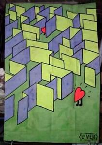 Love Maze, wall art, fairground art, original artwork, love hearts, cool