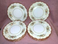 "8 KIKUSUI FINE CHINA 10"" DINNER PLATES JAPAN DINNERWARE FLORAL GOLD TRIM SCALLOP"
