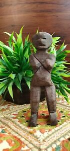 Collectible Old Hand Crafted Wooden Tribal Folk Art Man Figure Statue Sculpture