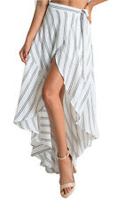 Skirts Women's White Stripe Asymmetric Wrap Skirt Tie-up Beach Boho Summer M New