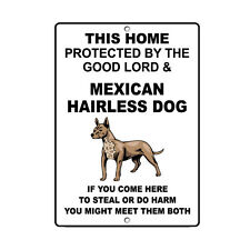 Mexican Hairless Dog Dog Home protected by Good Lord and Novelty Metal Sign