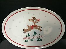 Pottery Barn Kids Christmas Serving PLATTER Rudolph Reindeer Holiday Santa Plate