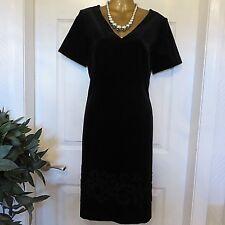 LAURA ASHLEY BLACK VELVET VELVET EMBROIDERED OCCASION DRESS SIZE 10