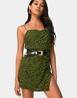 MOTEL ROCKS Datista Slip Dress in Cheetah Khaki  Extra Small  XS    (mr5)