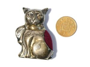 """VINTAGE 925 Silver Cat with Bow around Neck Shaped Pin Cushion Red Velvet 2"""""""