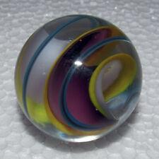 """STEVEN MASLACH Art Glass Handmade Marble 33mm or 1 5/16"""" Blue Purple White Swirl"""