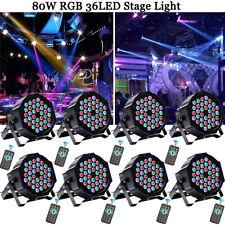 8PCS U`King 80W Stage Lighting 36LED RGB PAR DMX DJ Disco Party +Remote Light US