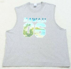 AAA Hawaii 06 Gray Tee T-Shirt Top Sleeveless 2XL Crewneck Cotton Polyester