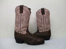 Nocona Brown Pink Leather Cowboy Boots Womens Size 6.5 B Style NL5006
