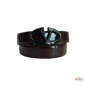 Authentic Valentino Garavani Burgundy Patent Calfskin VLOGO Buckle Belt Size 34
