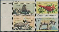 "#1464-67 ""WILDLIFE CONSERVATION"" PL # BLK/4 MAJOR COLOR SHIFT ERROR BS7771"