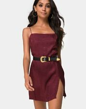 MOTEL ROCKS  Datista Slip Dress in Satin Cheetah Burgundy XS (mr96)