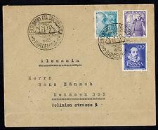 SPAIN 1950 MULTI FRANKED COVER w FANCY CANCEL **BARCELONA TO MEISSEN, GERMANY