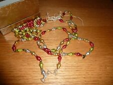 Vintage Mercury Glass Bead Feather Tree Garland Partially Strung Extra Beads
