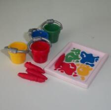 Playmobil-Peinture Seaux X 4 & Brosses Pour École/Maternelle Sets-New