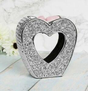 Silver Sparkle Heart Wax Melt Burner Oil Warmer Decoration Home Ornament