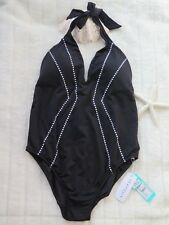 New Seafolly 16 Beach Squad Deep V Maillot One Piece Moulded Cup No Wire Black