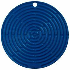 "Le Creuset Silicone 8"" Round Cool Tool Trivet Pot Holder, Marseille Blue"