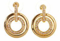 Swarovski Elements Crystal Circle Mini Pierced Earrings Gold Plated New 7136x
