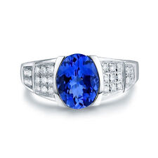 18ct White Gold Natural Untreated Flawless Tanzanite and Diamonds Ring GBP 7500
