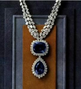 Gorgeous Blue Sapphire With Studded Diamond Bridal Necklace For Women