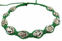 Silver Tone Our Lady of Guadalupe Medal Adjustable Cord Wrapped Bracelet, 8 Inch