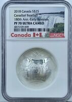 2018 Canada $25 Convex Baseball NGC PF70UCAM 180th Anniversary Early Releases
